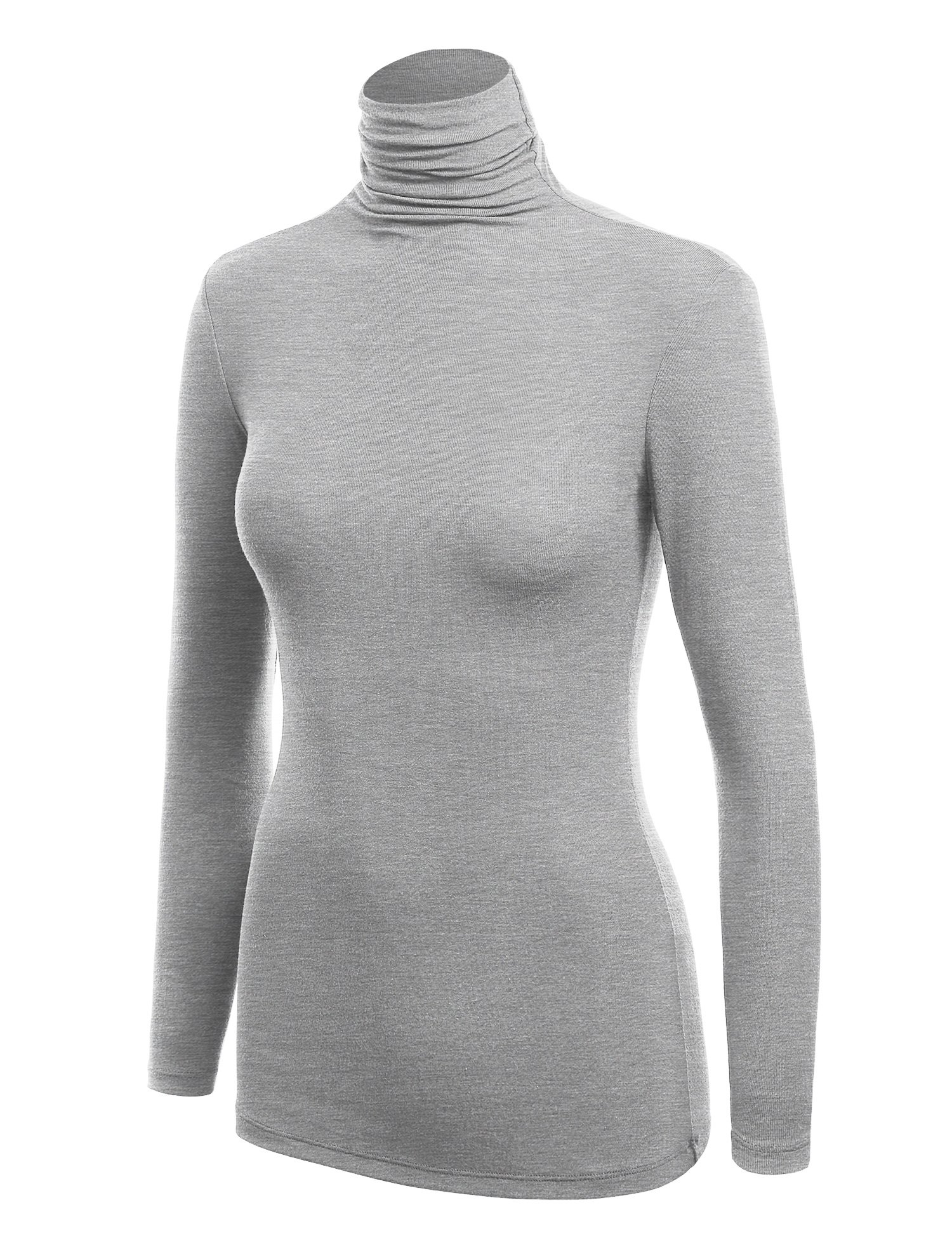 WSK1030 Womens Long Sleeve Ribbed Turtleneck Pullover Sweater L Heather_Grey