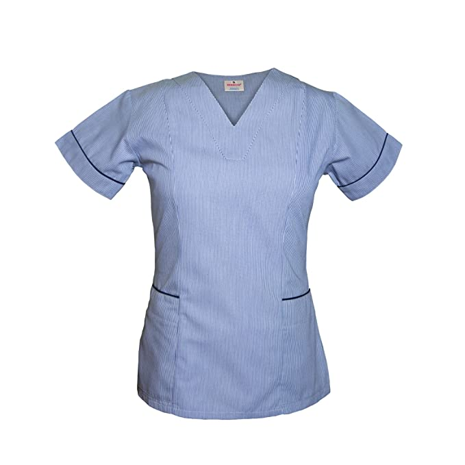 Medco enfermeras uniforme – Enfermería uniformes ajustable Scrub V cuello con borde azul marino – T05