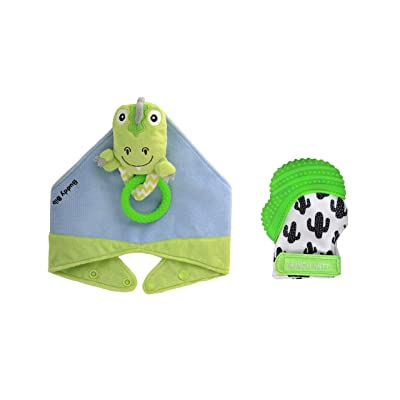Munch Mitt the Original Mom Invented Teething Toy and 3 in 1 Buddy Bib- Self-Soothing Entertainment & Pain Relief for Baby- Ideal Baby Shower Gift- Mitt & Bib Combo Pack (T-eething Rex/Green Cactus): Toys & Games [5Bkhe1005075]