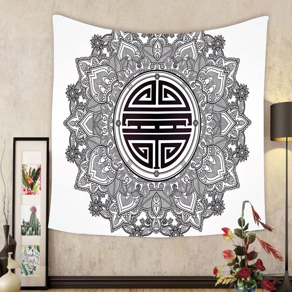 Gzhihine Custom tapestry Mandala Decor Tapestry Chinese Longevity Luck Health and Good Protection Sign Mandala Icon Image for Bedroom Living Room Dorm 80WX60L Black White