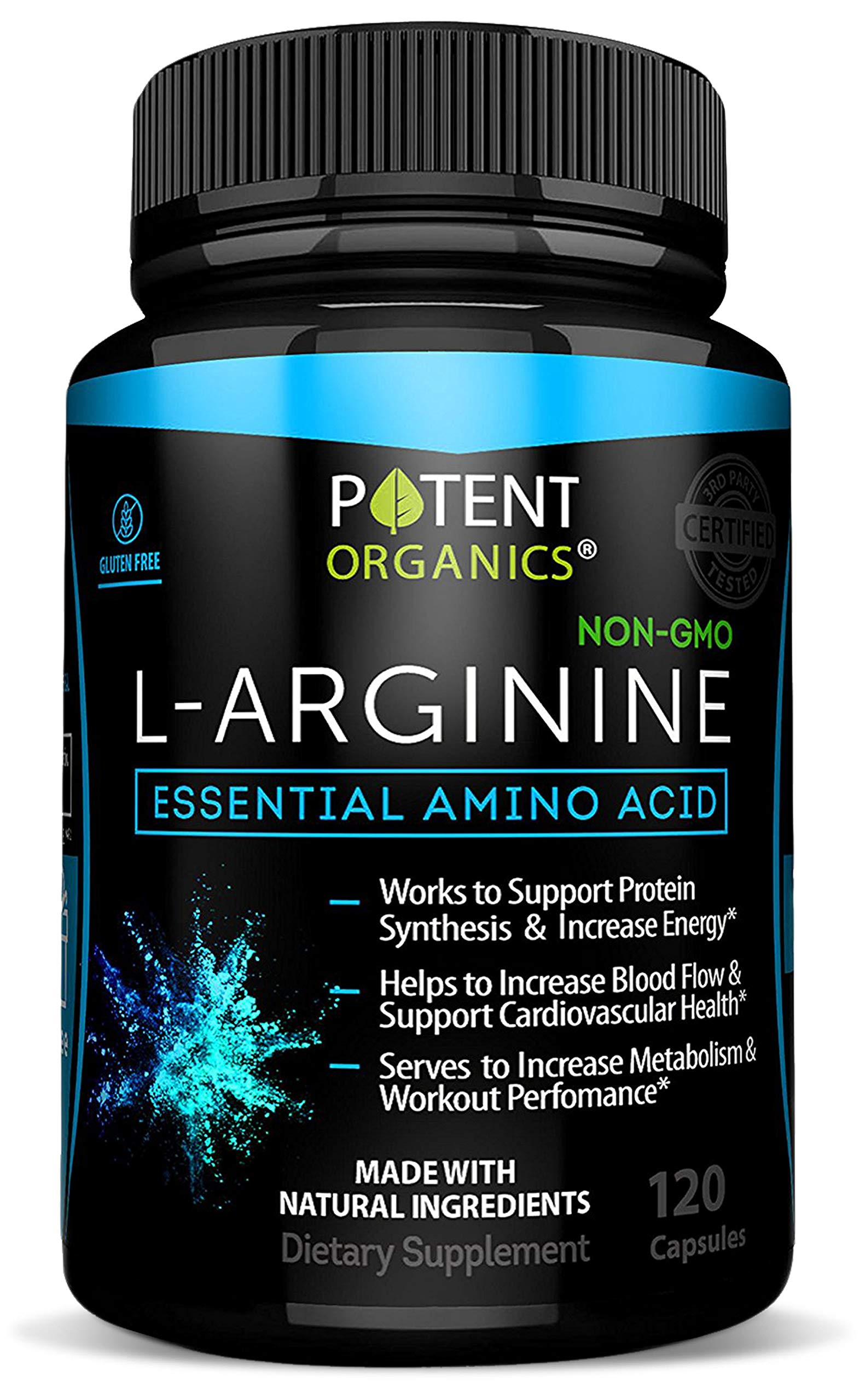 L-Arginine Essential Amino Acid 120 Vegetarian Capsules - For Muscle, Heart and Energy! by Potent Organics