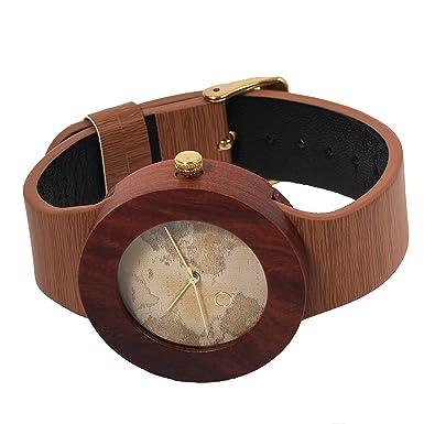 seQoya - Yosemite Traveller | Reloj de Madera con Esfera de Madera y Correa de Piel ecológica simulando Madera Estampada | Reloj Hombre y Mujer | Diseño ...