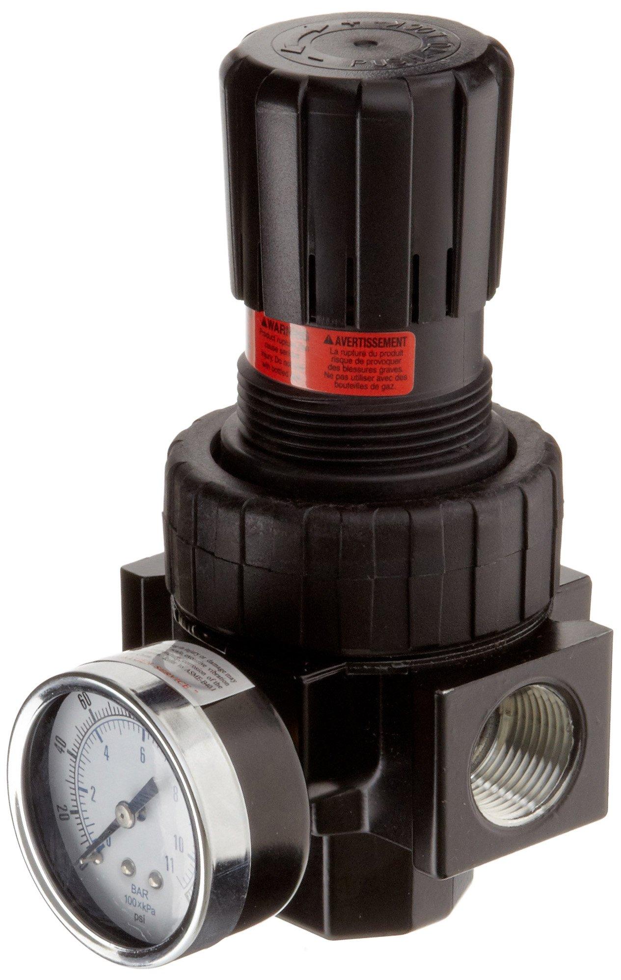 Parker 07R318AC Regulator, Relieving Type, 2-125 psi Pressure Range, Gauge, 90 scfm, 1/2'' NPT by Parker