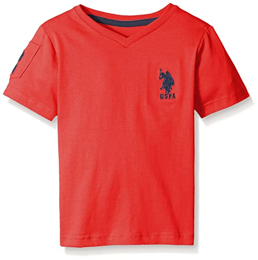 b663c0a2ca Amazon.com: U.S. Polo Assn. Boys' Solid V-Neck T-Shirt: Clothing