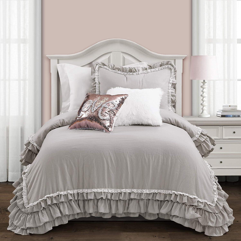 Lush Decor Ella Shabby Chic Ruffle Lace 2 Piece Comforter Set, Twin-XL, Light Gray