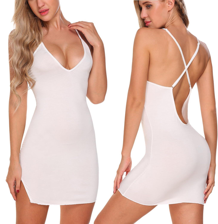 ADOME Women Sleepwear Nightgown Sexy Lingerie Chemise Nightshirt Full Slip Dress White L