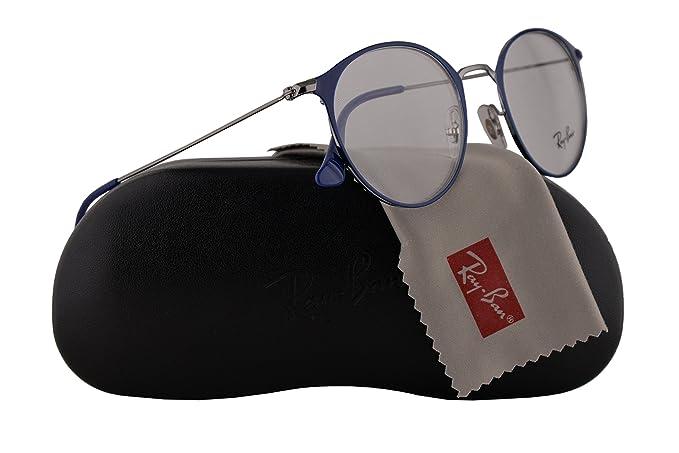 89bd1f565dc Ray Ban RX6378 Eyeglasses 49-21-145 Gunmetal Shiny Blue w Demo Clear ...