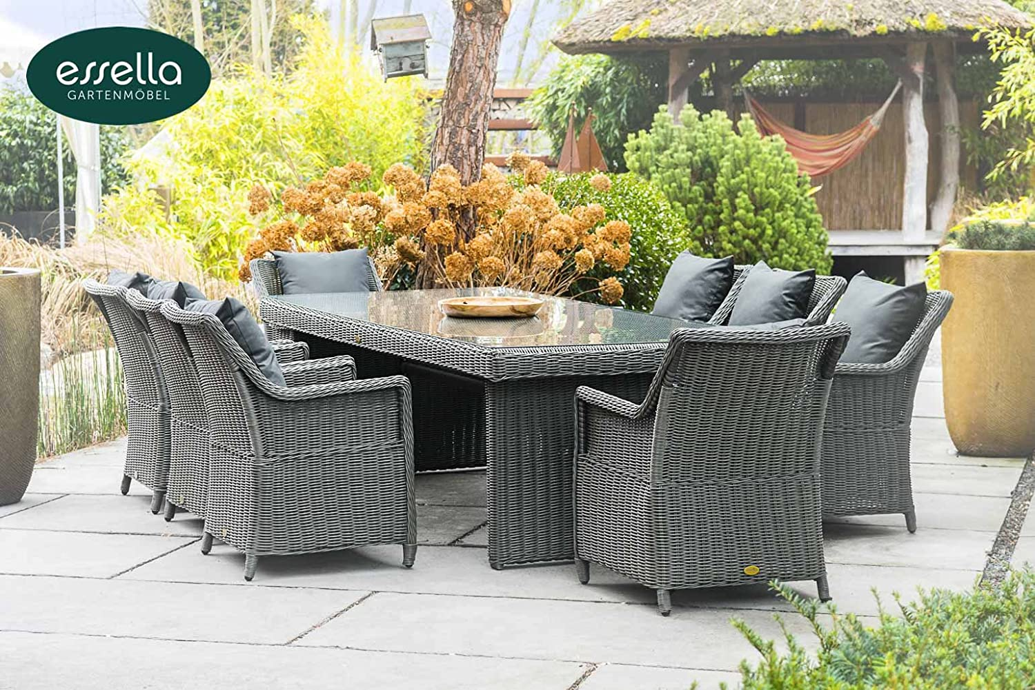 polyrattan sitzgruppe dubai 8 personen rundgeflecht grau rund gartenm bel. Black Bedroom Furniture Sets. Home Design Ideas