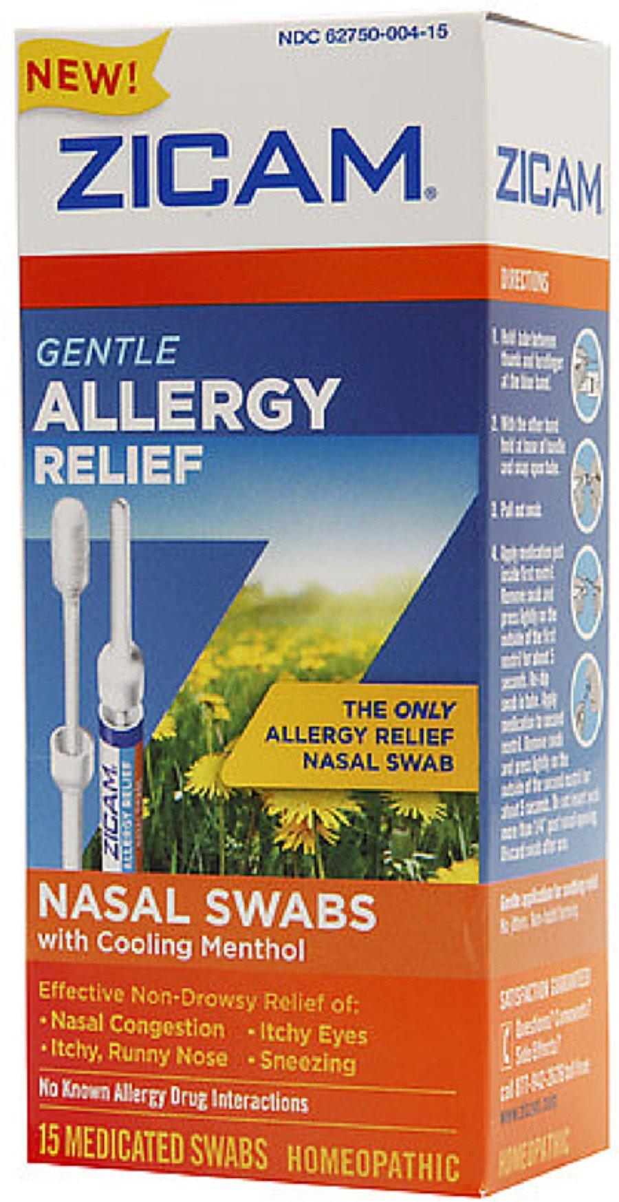 Zicam Gentle Allergy Relief Nasal Swabs with Cooling Menthol, 15 ea (Pack of 5)
