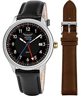 AVIATOR F-Series Mens Vintage Flight Pilot Dual Time GMT Quartz with Two Interchangeable Genuine