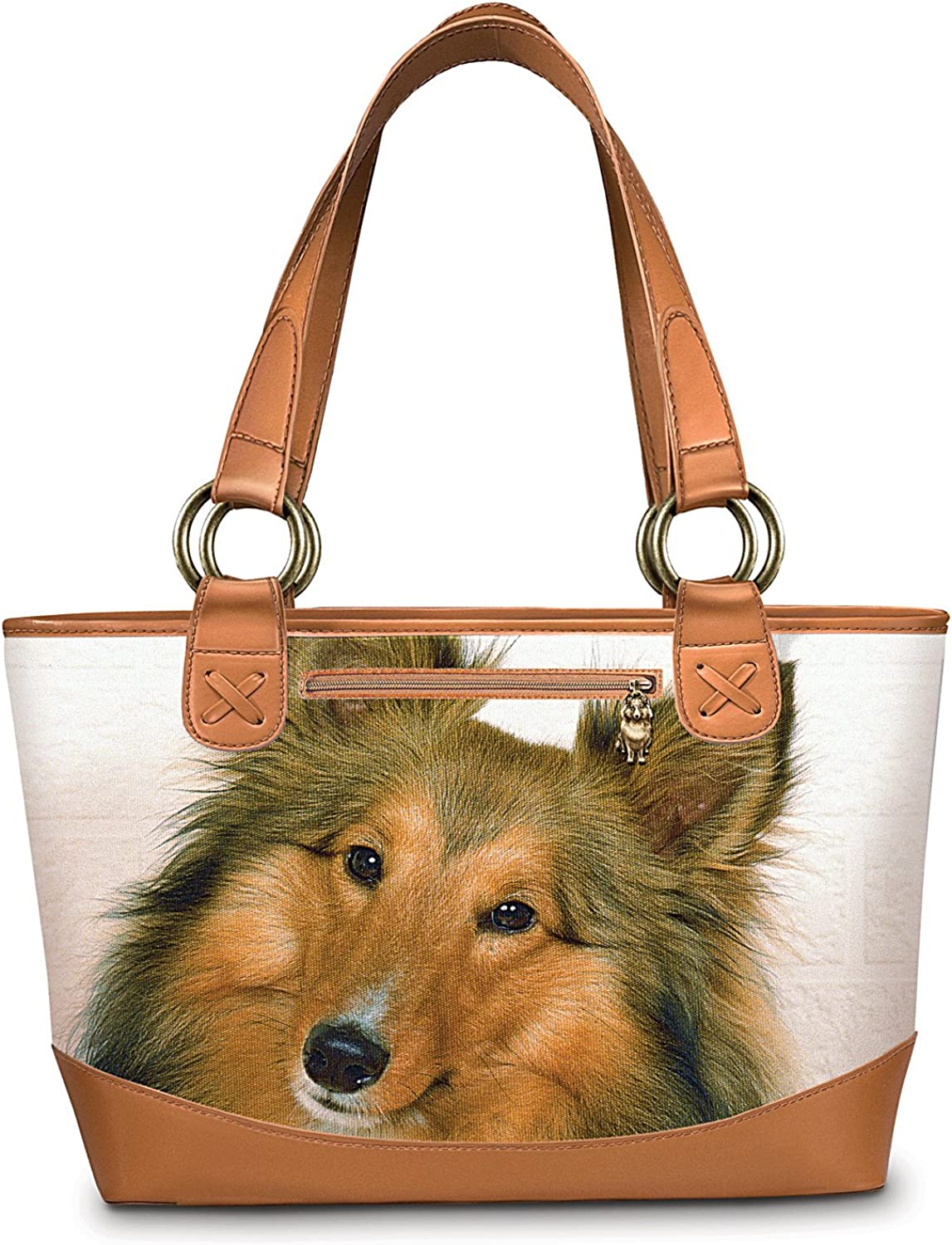Womens Leather Head Dachshund Dogs Art Handbag Satchel Tote Bag Tote Purse