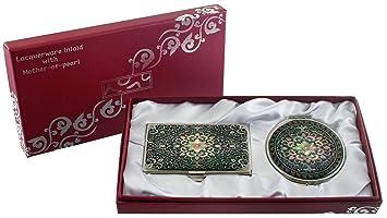 Nacre Arabesque 1 Motif Grossissant Double Miroir De Maquillage Compact Pour Nom Credit