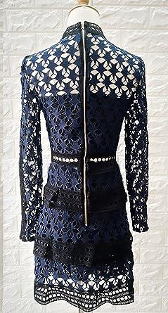 Elegancka sukienka koktajlowa z długimi rękawami, krÓtka, elegancka sukienka z falbankami, sukienka koktajlowa na wiosnę, moda vintage, jednokolorowa, slim - l: Odzież