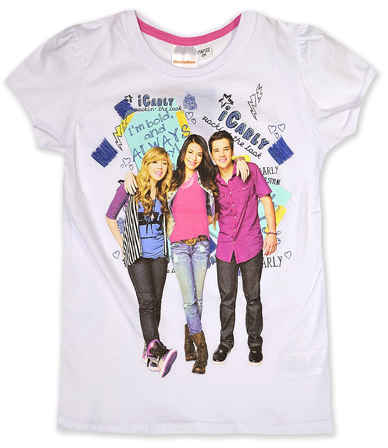 Girls iCarly T Shirt Kids Short Sleeve Top Pink White New Age 6 7 8 ...