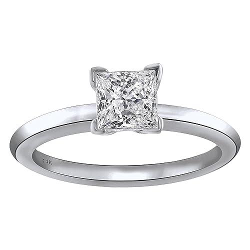 varios estilos diseñador de moda última selección de 2019 Diamond Hub - Anillo de compromiso de oro blanco de 14 ...