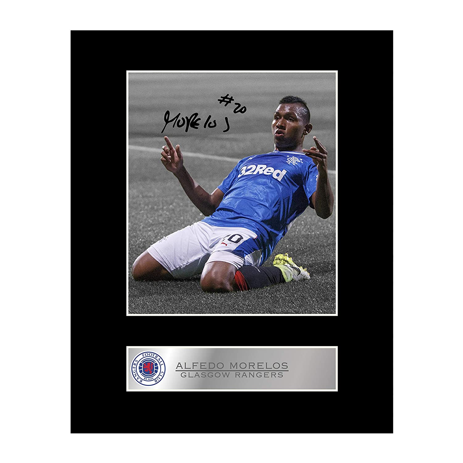 Alfredo Morelos Signed Mounted Photo Display Glasgow Rangers FC Autographed Gift Picture Print Iconic pics