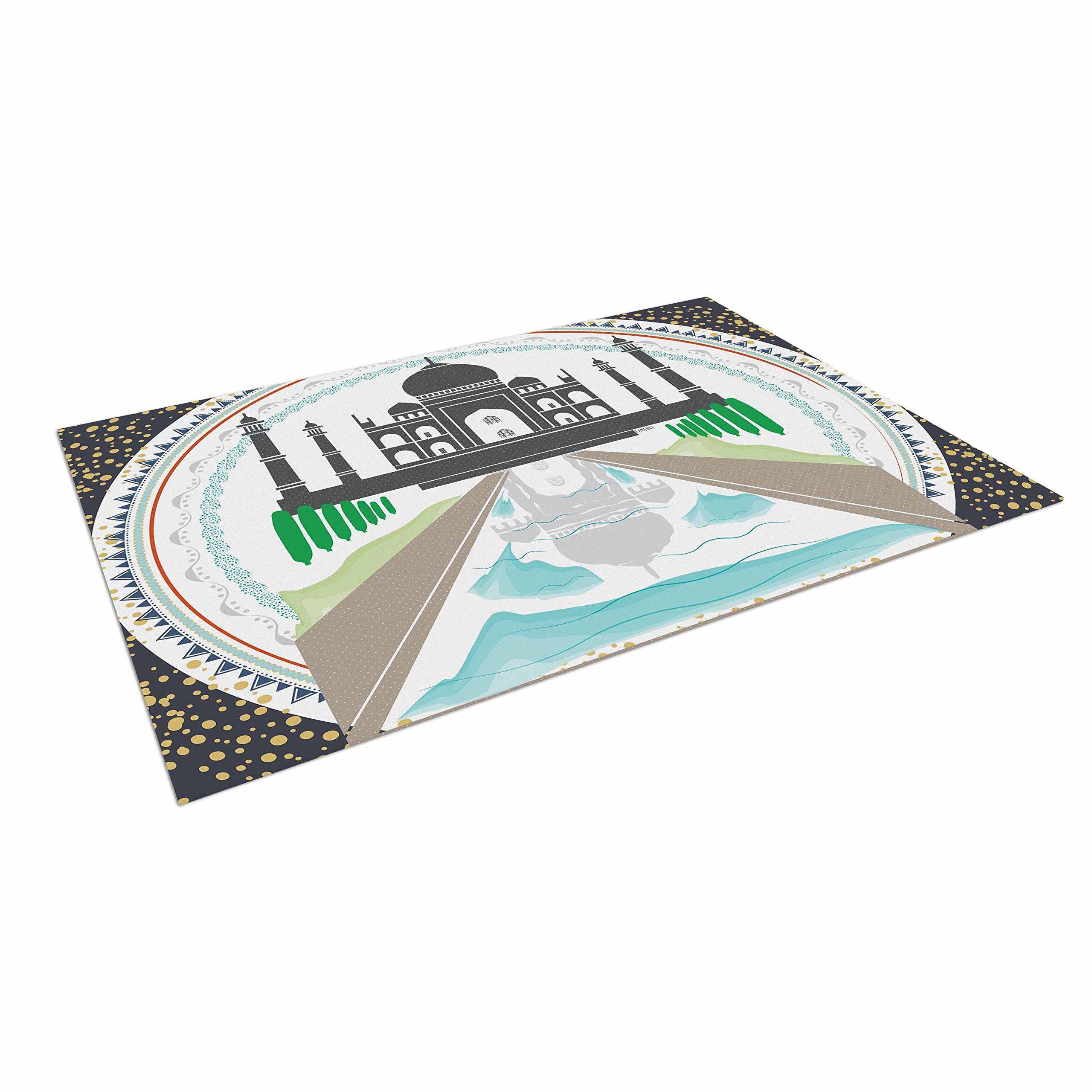 KESS InHouse Famenxt ''The Taj Mahal India'' Green Gray Indoor/Outdoor Floor Mat, 4' x 5'