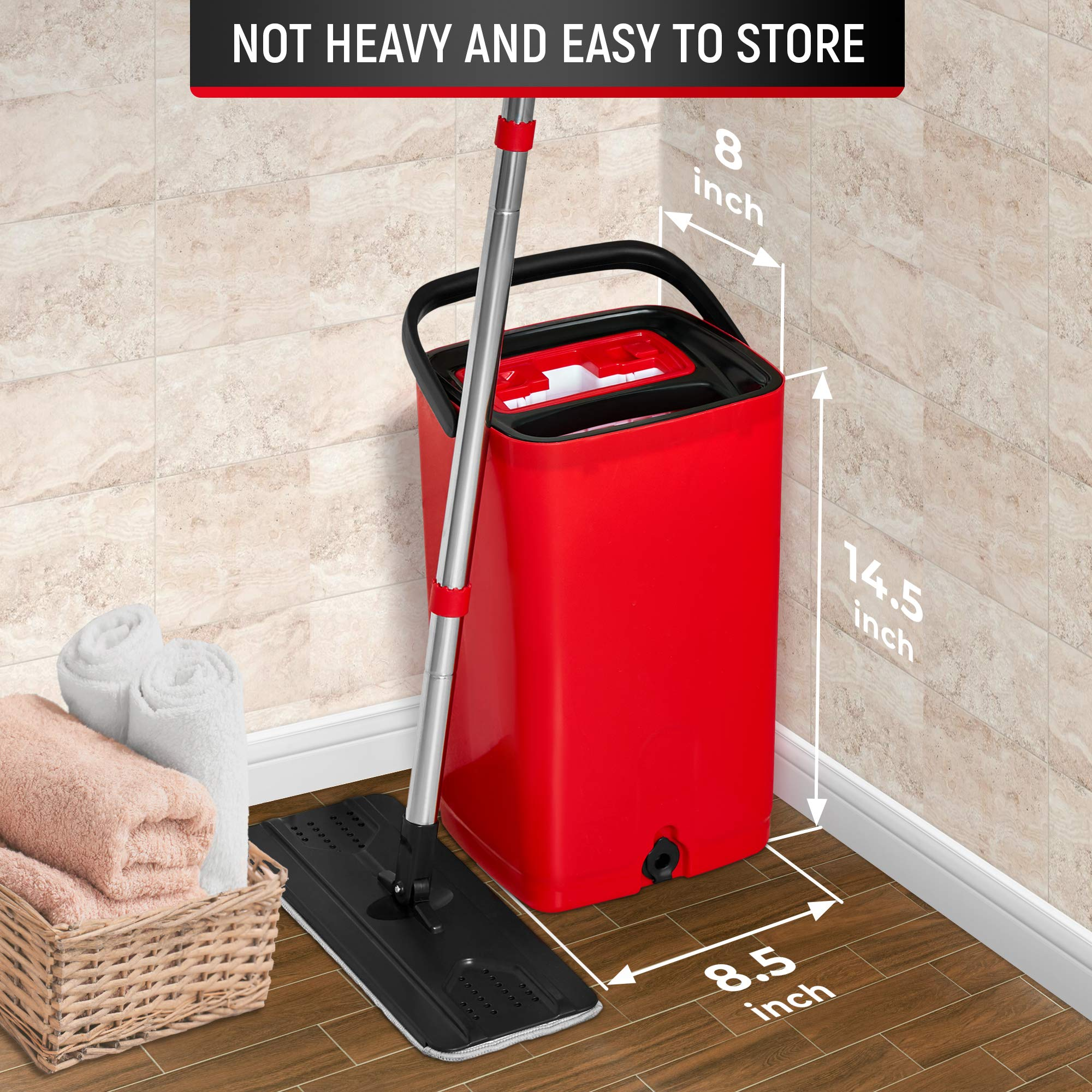 E-Day Smart Flat Mop Bucket with Wringer for Home Kitchen Floor Cleaning - Microfiber Mop System with Bucket and 2 Washable Mop Pads - Dry or Wet Floor Mop Set with Self-Cleaning System - Red by E-Day Smart (Image #2)