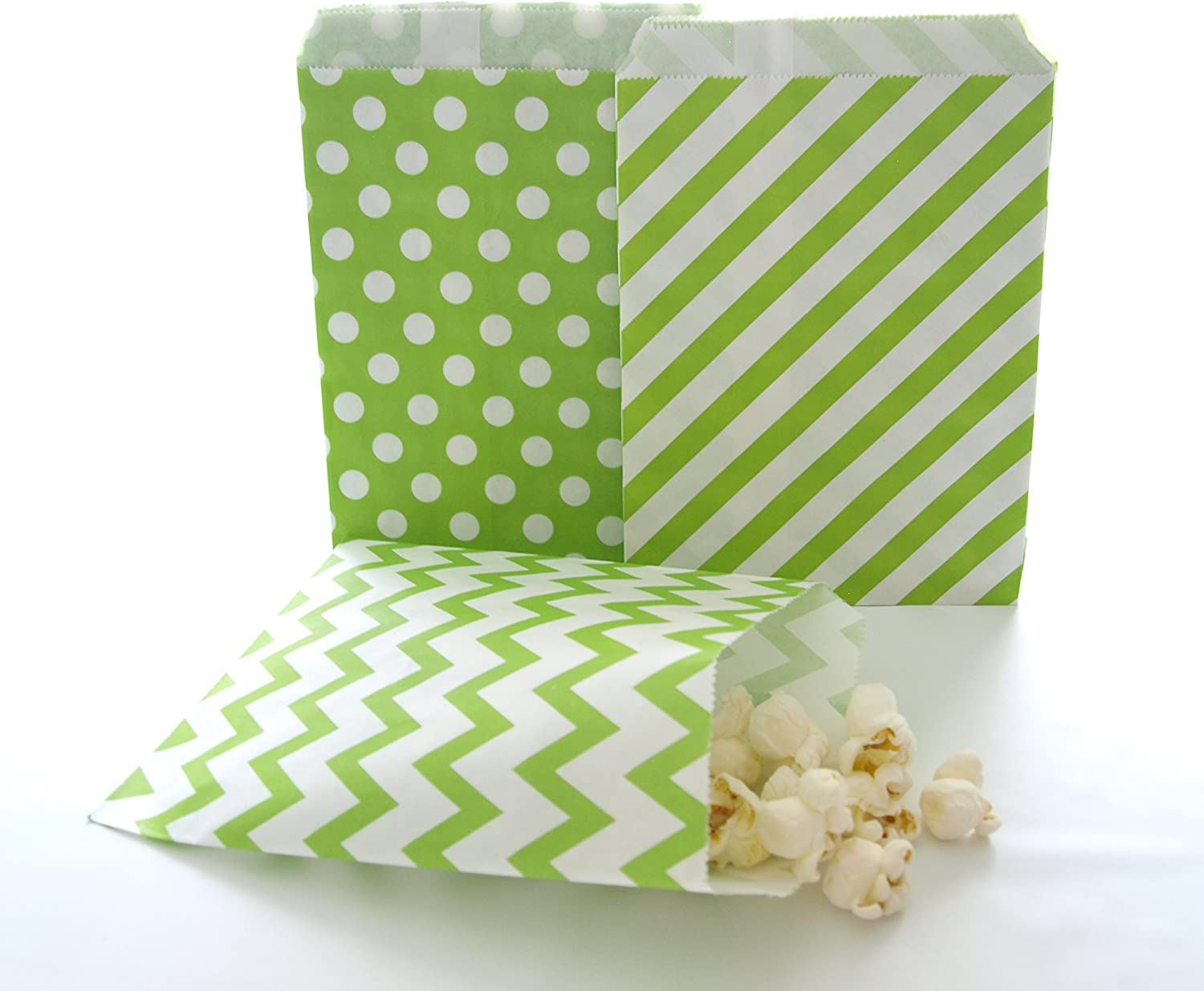 Amazon Com Green Gift Bags Christmas Candy Bags Small Party Favor Bags Candy Bag Ideas 75 Pack Green Striped Polka Dot Chevron Bags Kitchen Dining