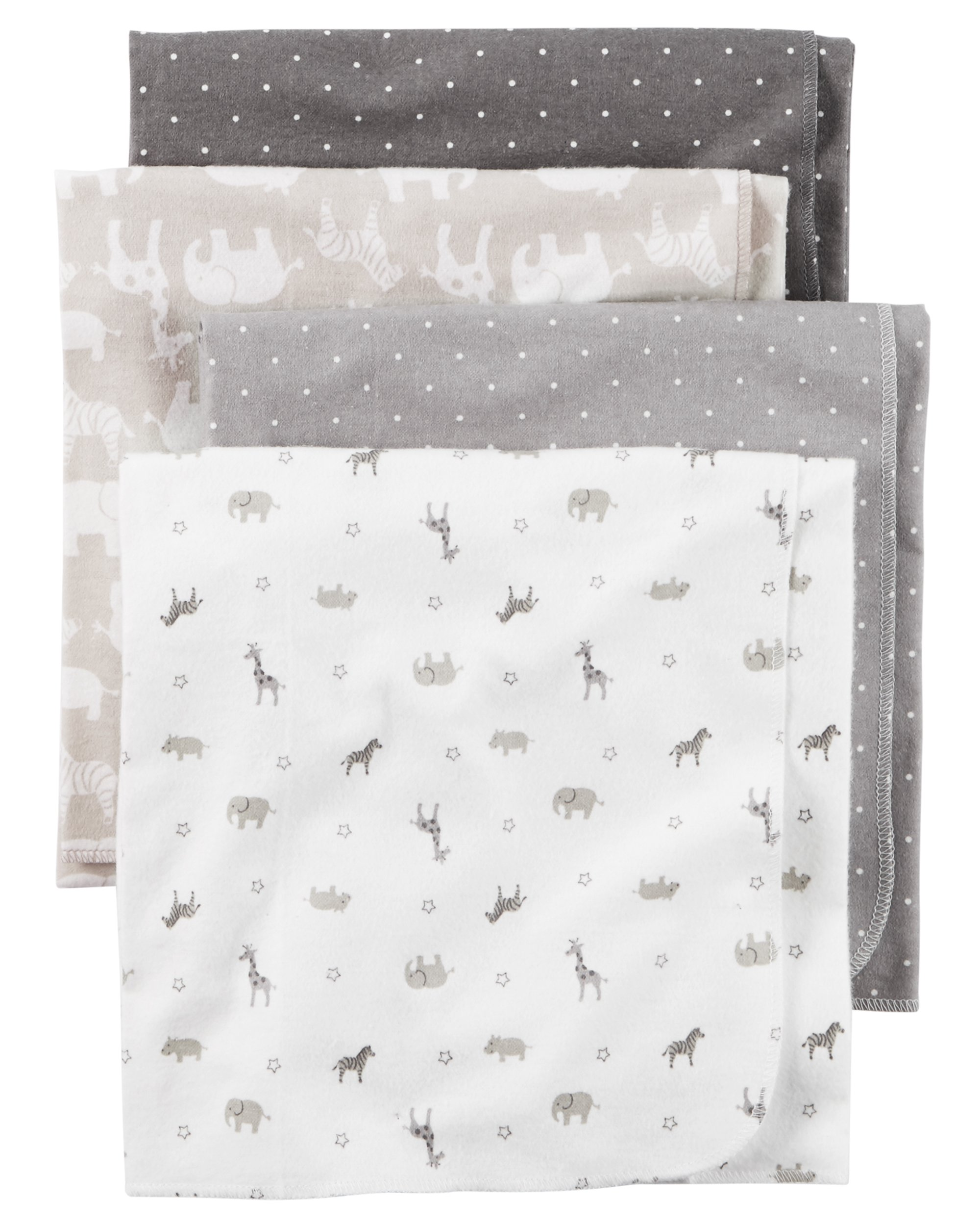 Carter's Baby 4-Pack Flannel Receiving Blankets, Taupe Jungle, One Size by Carter's