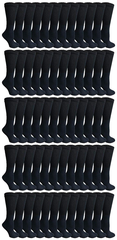 Black SOCKSNBULK 60 Pairs of Kids Crew Socks Soft Sports Socks In Bulk Packs,