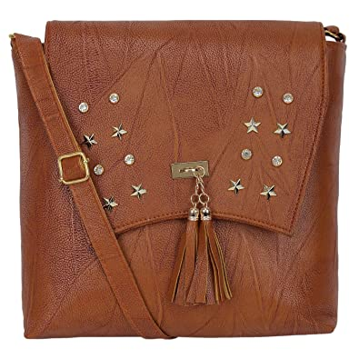 AASFA Womens PU Crossbody Chain Sling Bag (Brown)