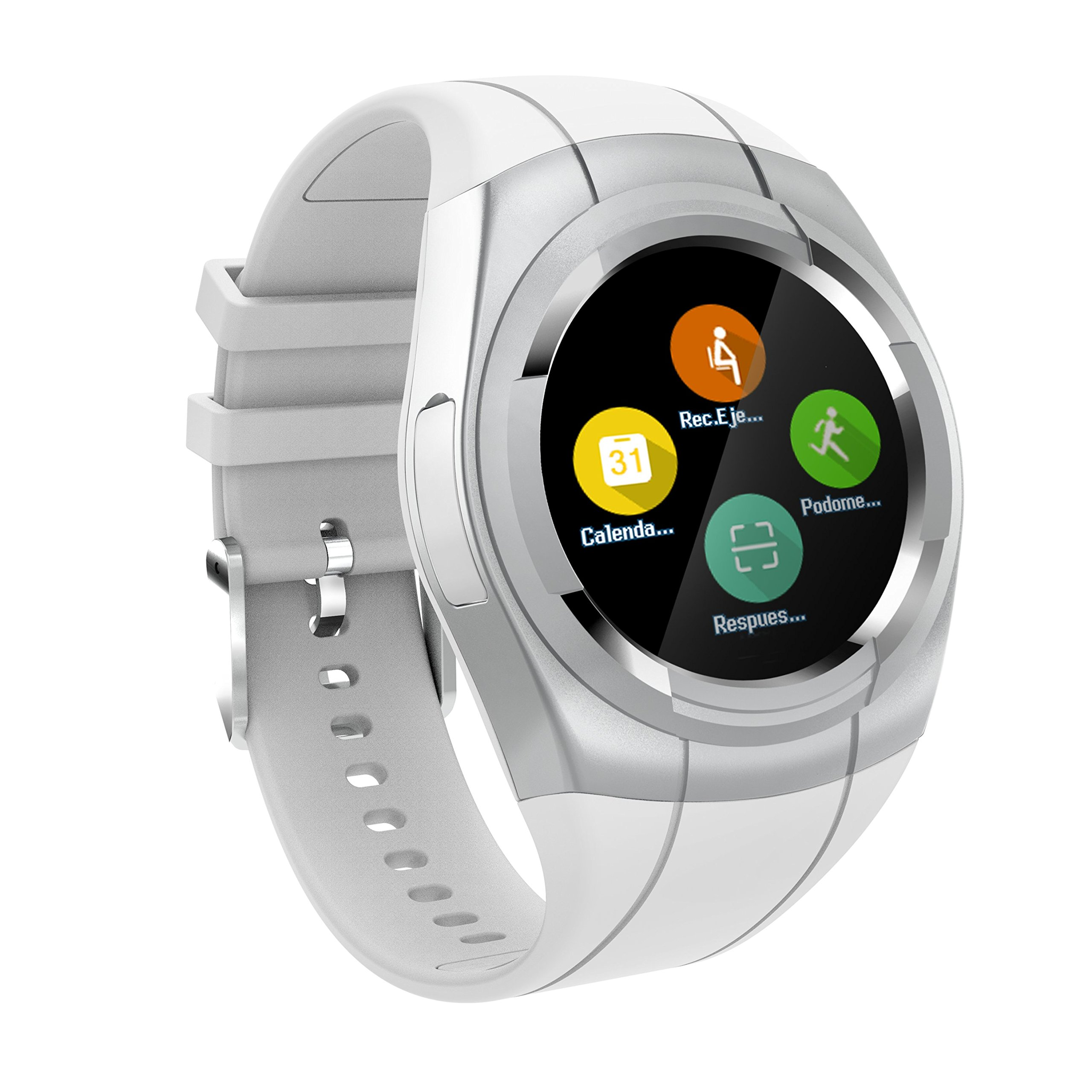 Smart Watch Bluetooth Smartwatch Touch Screen Wearable Multi-Function Sport Business Wristwatch for Android Support SIM/TF Card (White)