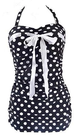 2caca26b8dc58 1950s Pin Up Girl Black Polka Dot Bow Swimming Costume 10 12 14 16 18 -  Retro Vtg Bikini Swimsuit Rockabilly (UK 10/12): Amazon.co.uk: Clothing