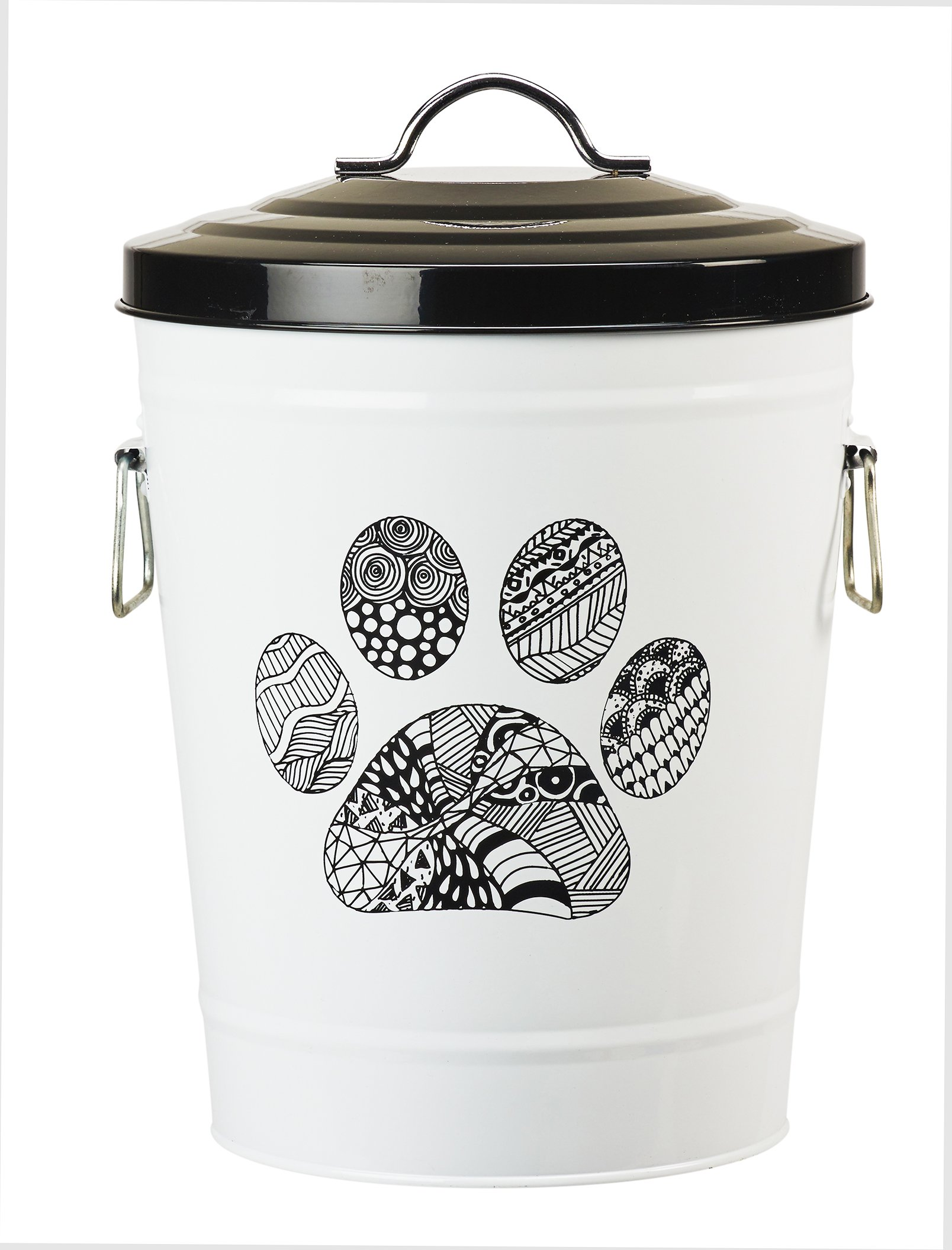 Amici Pet, A7YY022PR, Zentangle Collection Paw Metal Storage Bin, Food Safe, Push Top, 17 Pound Capacity by Amici Pet
