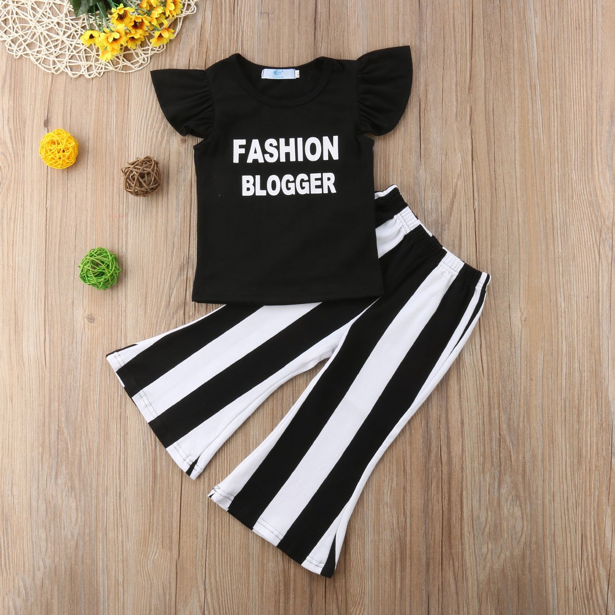 Kids Toddler Baby Girl Ruffle Sleeve Fashion Blogger T-Shirt Tops+Stripe Flare Pants Clothes