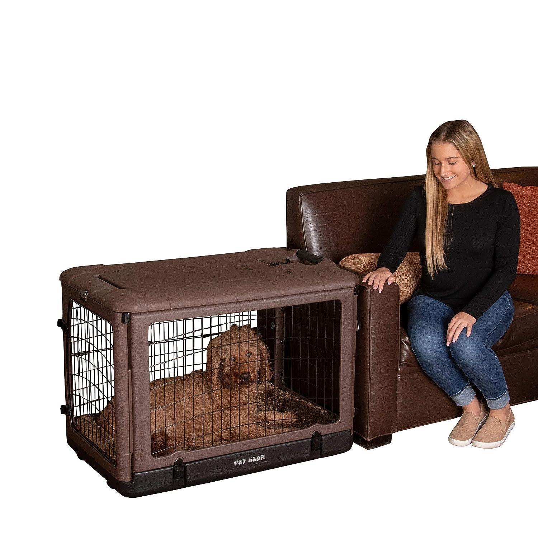 Chocolate Medium Chocolate Medium Pet Gear The Other Door Steel Crate with Pad, Medium, Chocolate Brown