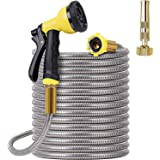 FOXEASE Metal Garden Hose 25FT- Stainless Steel Heavy Duty Water Hose with Solid Metal Nozzle &8 Function Sprayer, Portable &
