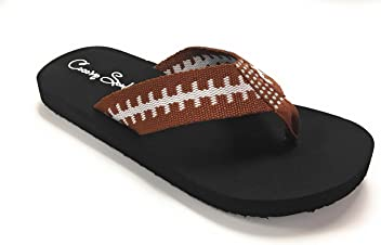 41c8918616d Cocomo Soul Football Fabric Flip Flops Football Mom Flip Flops Football  Sandals Football Flip Flops for
