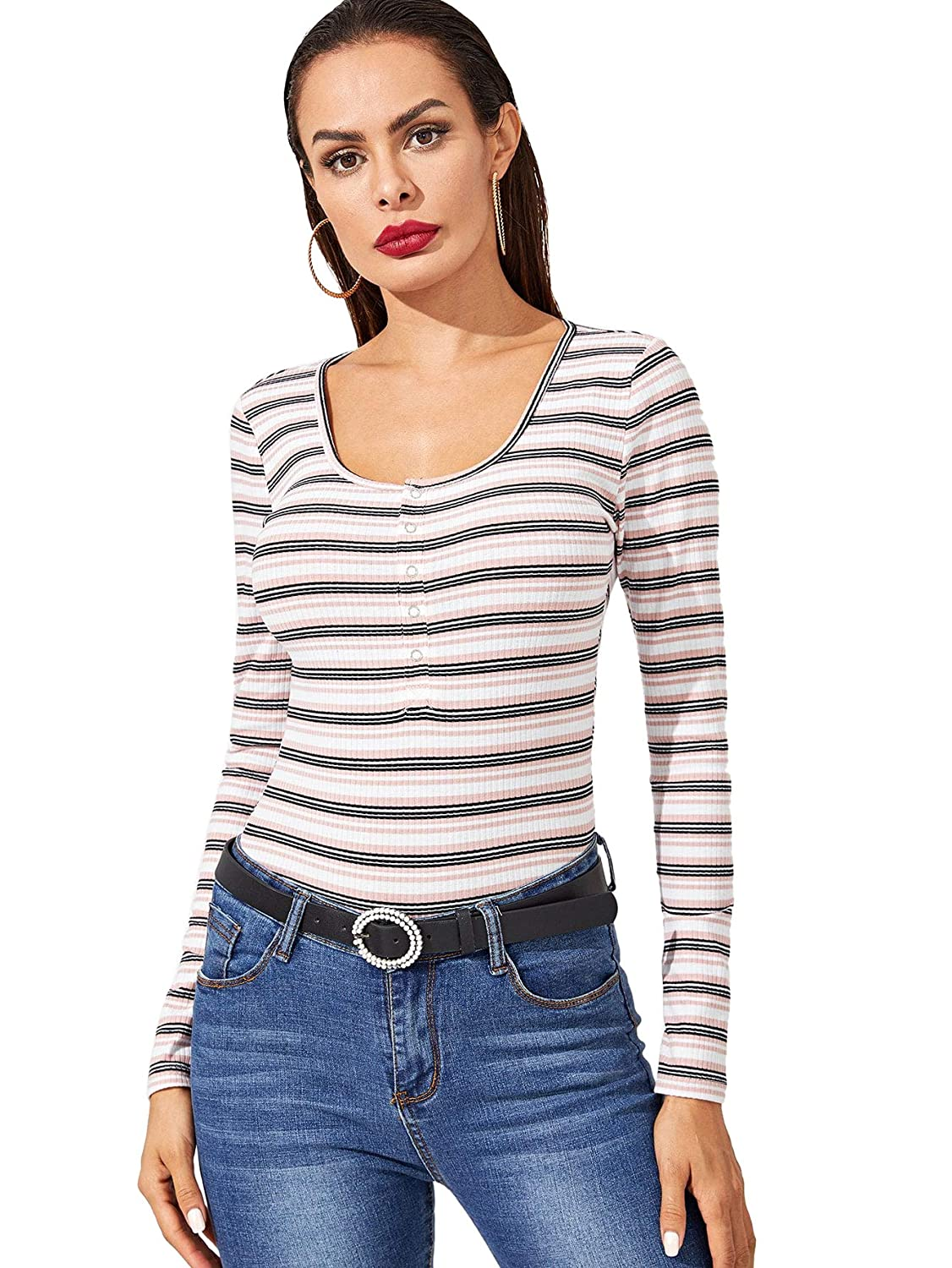 Bmulti1 Milumia Women's Casual Striped Ribbed Tee Knit Crop Top