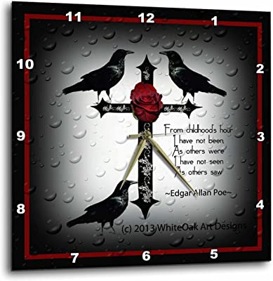"""3dRose A Black Gothic Cross with Designs and Ravens - Wall Clock, 13 by 13"""" (DPP_165355_2)"""
