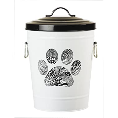 Amici Pet, A7YY022PR, Zentangle Collection Paw Metal Storage Bin, Food Safe, Push Top, 17 Pound Capacity