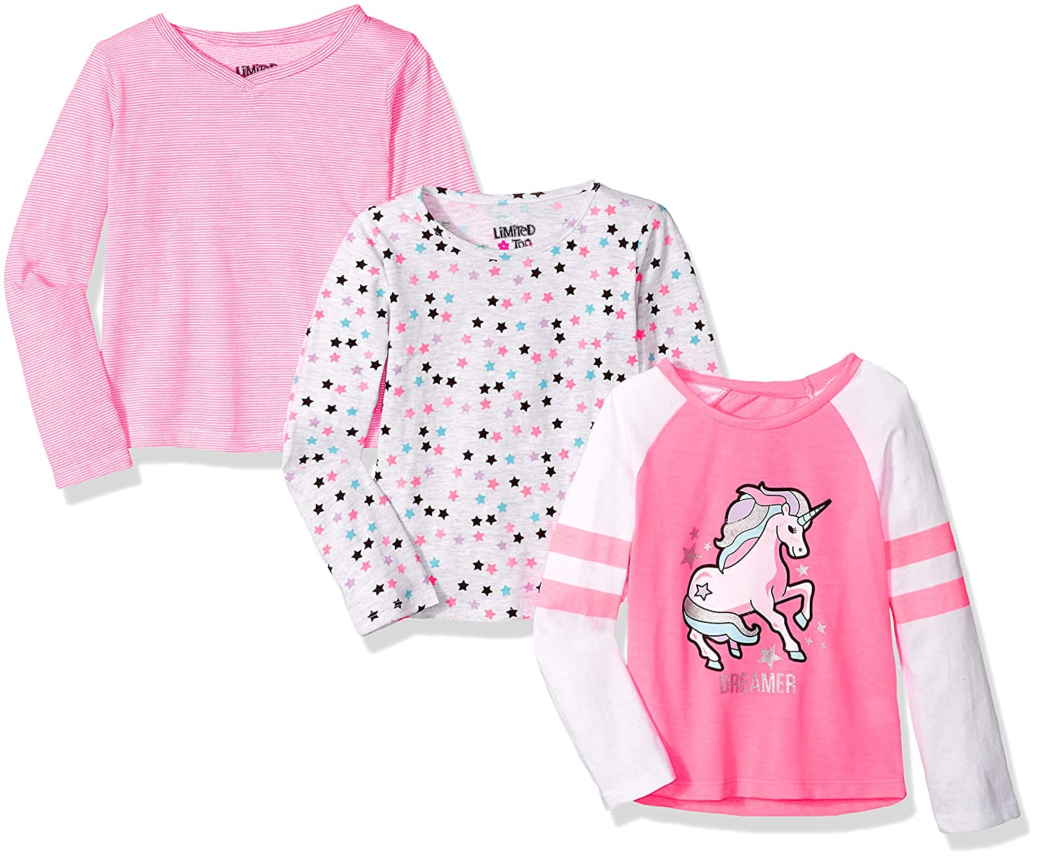 Limited Too Girls' 3 Pack Long Sleeve T-Shirt Set