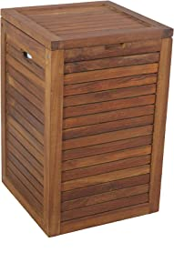 Medium Teak Laundry Hamper, or Indoor Outdoor Storage Bin