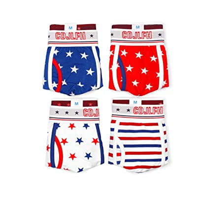 CDJLFH Men's Comfortable Stretch Cotton Boxer Briefs Stars Stripe Colors Underwear (4 Pack) at Men's Clothing store
