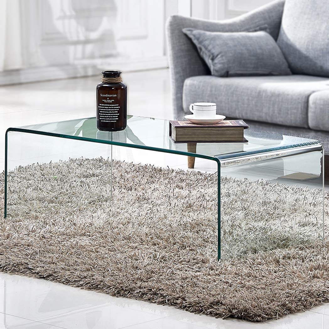 Amazon Com Tempered Glass Coffee Table Living Room Clear Cocktail