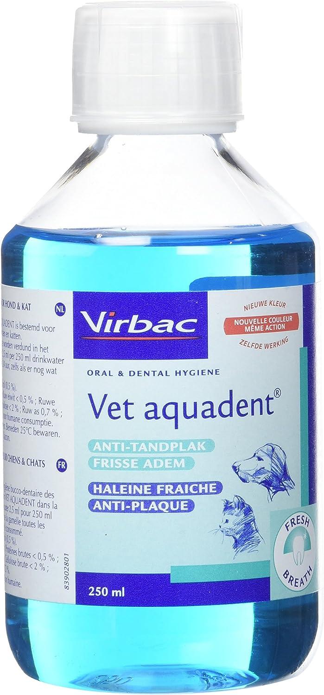 Virbac Vet Aquadent 250ml (Mejora la salud bucodental). Para perros y gatos.