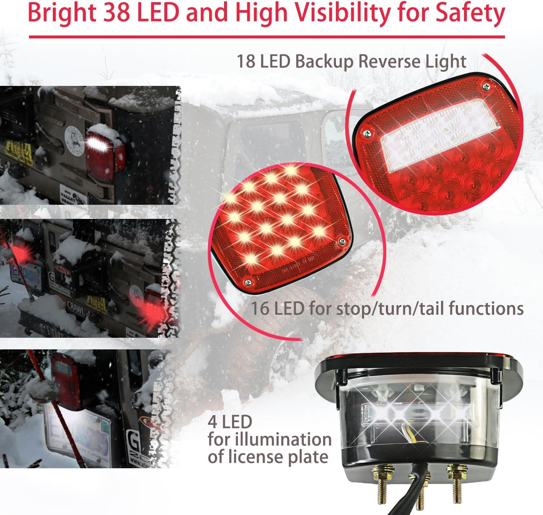 superbrillantes 20 ledes luces traseras de marcha atr/ás y de giro luces de freno impermeables universal HugeAuto 2 luces traseras para remolque 12 V//24 V