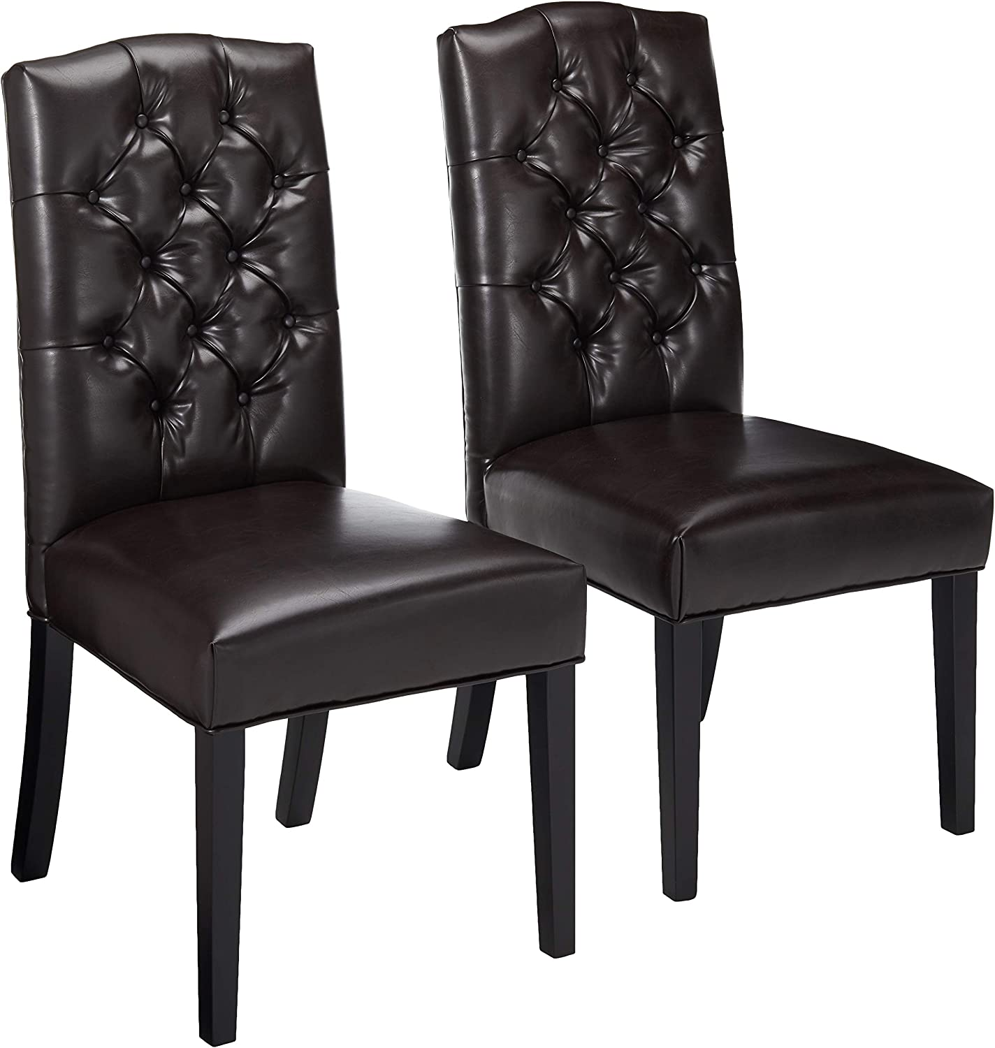 Christopher Knight Home 216284 Clark Leather Upholstered Dining Chairs w/Button Tufted Backrest (Set of 2), Brown