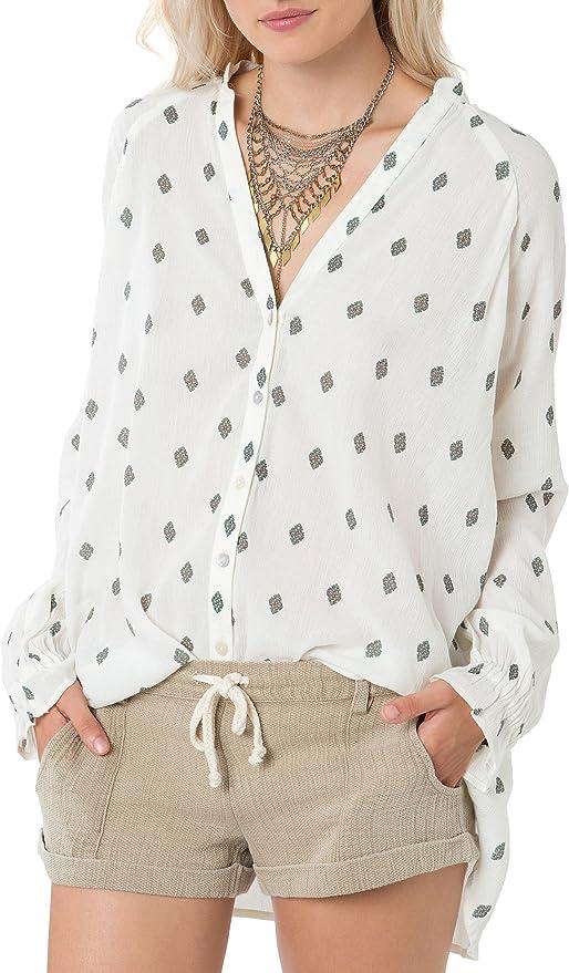 Lightweight Woven Gauze Midsleeve Pintuck Crinkle Shirt