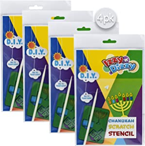 """Izzy 'n' Dizzy Hanukkah Scratch Stencil Art Kit - 4 Pack - 8"""" x 6"""" - Includes Sctatch Stick - Chanukah Arts and Crafts - Gifts and Games"""