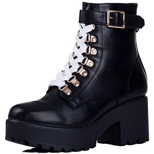 0a3c3c933d8 Spylovebuy VICIOUSER Women's Chunky Platform Lace up Block Heel ...