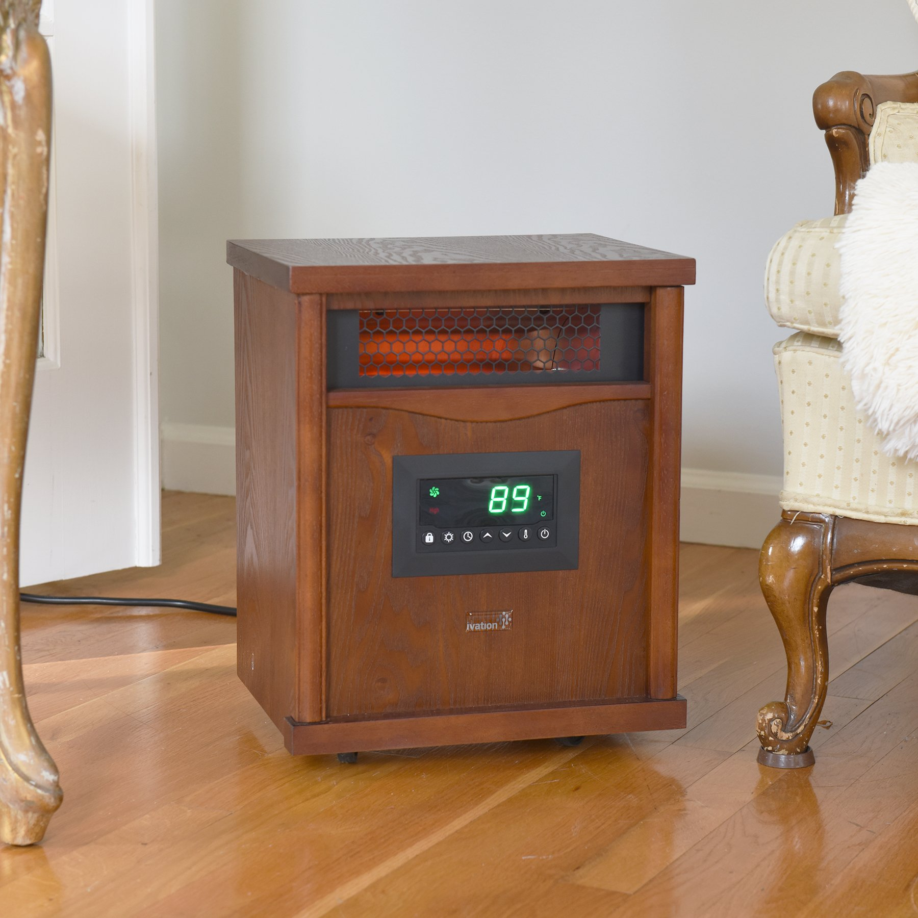 Ivation Portable Electric Space Heater, 1500-Watt 6-Element Infrared Quartz Mini Heater With Digital Thermostat, Remote Control, Timer & Filter by Ivation (Image #6)