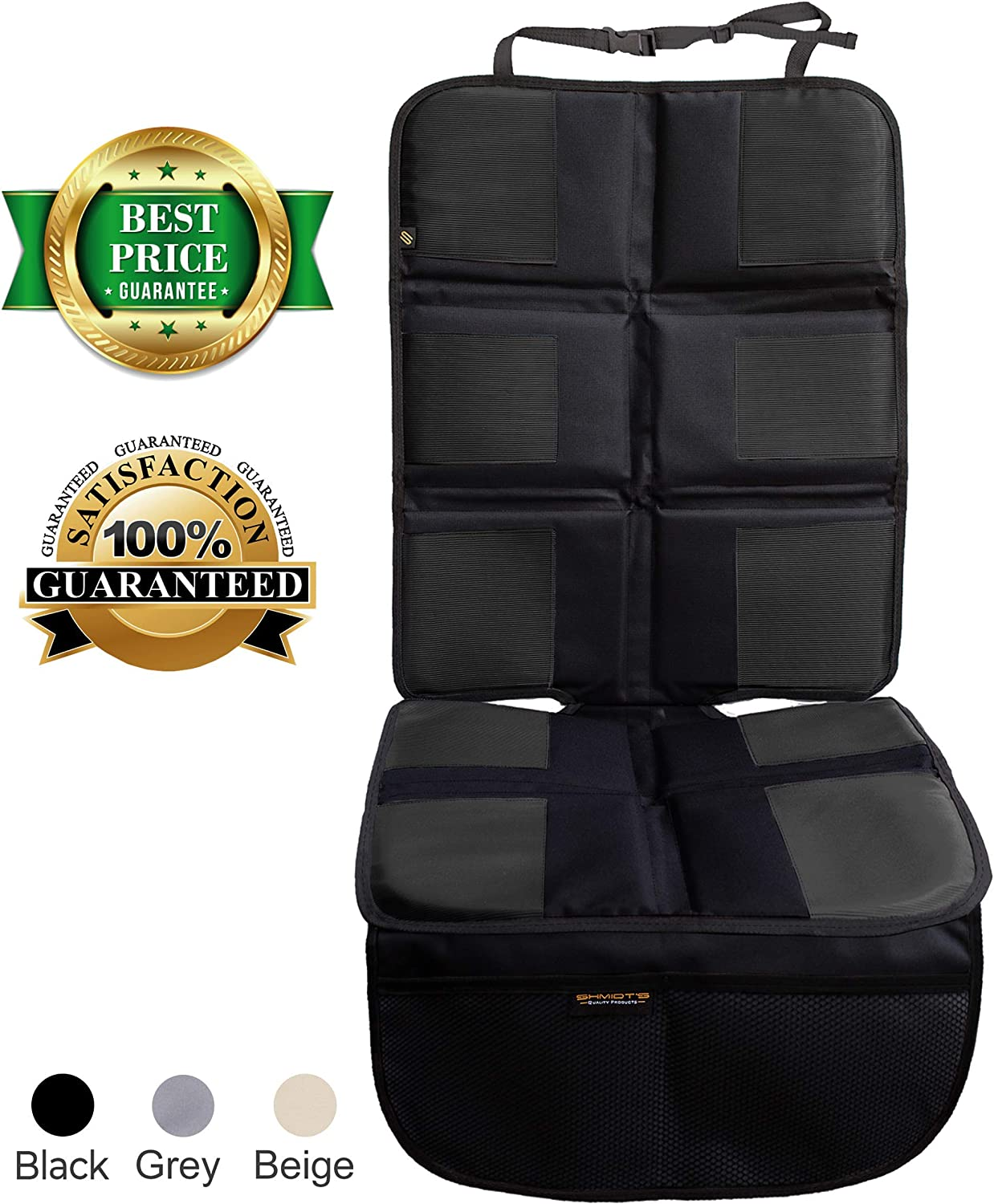 Shmidt'S Car Seat Protector - Luxury Car Seat Cover Summer/Winter for Baby & Child - Anti-Slip, Heavy Duty Car Seat Mat Protector for Infants W/Upholstery, Black/Dark