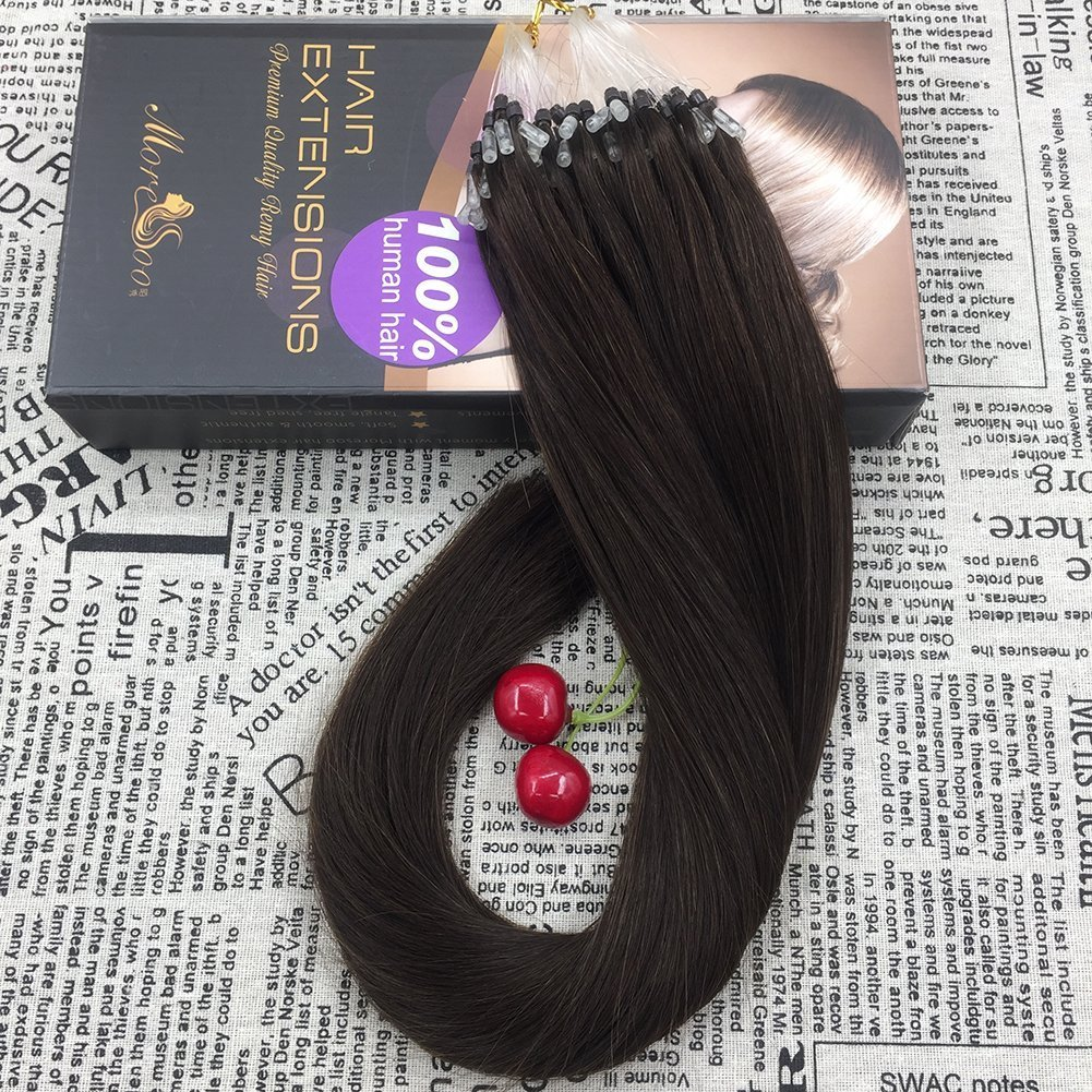 Moresoo 20 50g 1g Strand Darkest Brown Color 2 Remy Micro Loop Ring Hair 100 Brazilian Human Beads Extensions Amazoncouk Beauty
