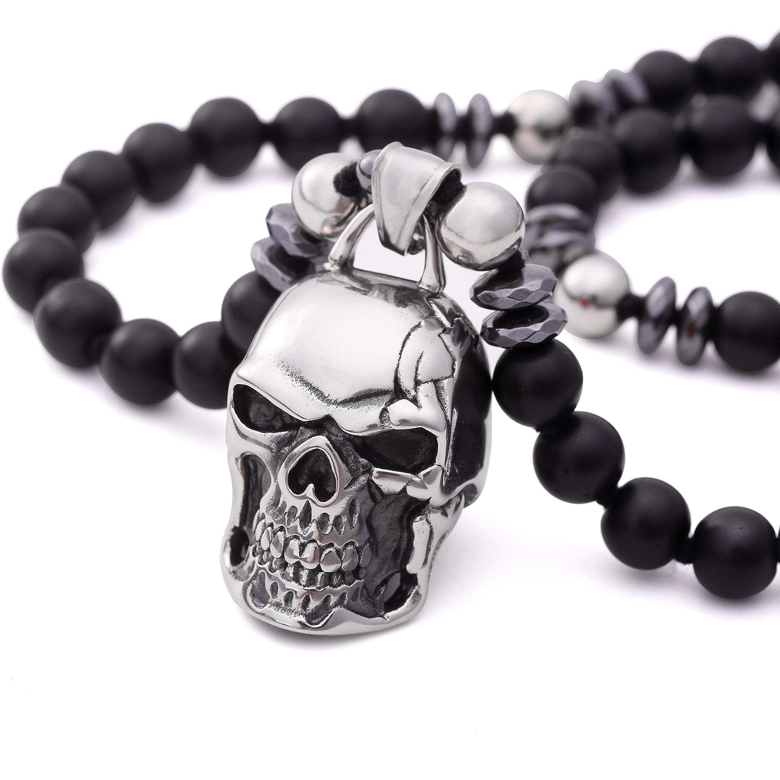 PEARLADA Black Onyx Skull Pendant Necklace Stainless Steel Handmade Gemstone Gothic Hematite Beads Jewelry for Men